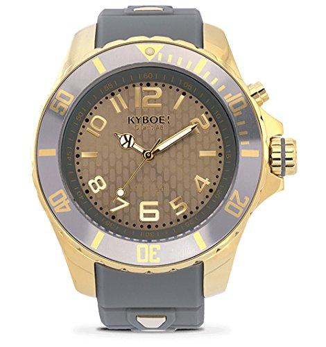 KYBOE! Reloj de cuarzo de acero inoxidable y silicona (modelo: oro ciclón)