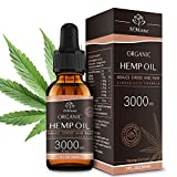 3000mg Pure Hemp Oil Extract - Anxiety & Stress Relief and Sleep Aid - 100% Organic, Vegan, GMO-Free, Natural