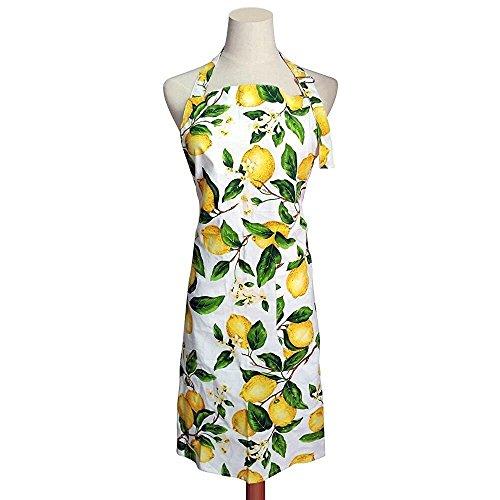G2PLUS Mode Frau Schürze Baumwolle Blumenmuster Küchenschürze Modische Kochen Backen Apron mit Taschen Lemon (Zitrone)