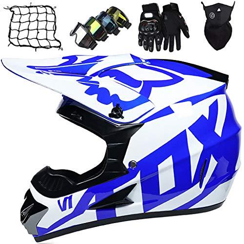 Casco da Moto, Casco da MTB Integrale Bambini Giovani e Adulti, Casco da Motocross Unisex Fuoristrada Quad Bike Set di Caschi da Motociclista (Guanti+Occhiali+Maschera+Rete Elastica) - con Design FOX