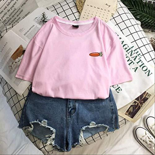 SKJSB T-Shirt Sommer Obst College Wind Reine Baumwolle Kleidung Frauen T-Shirts Männer Paare Avocado Strawberry Cherry XXL Pink
