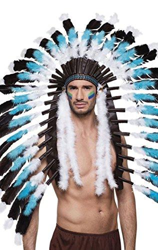 Boland 44141 - Kopfschmuck Indianer Snow Wolf, für Erwachsene, Häuptling, Stirnband, Kopfbedeckung, Indianerfedern, Motto Party, Karneval