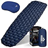Outdoorsman Lab Sleeping Pad Sleeping Bag Pillow Bundle for Camping - Ultralight Mattress for Adults & Kids - Compact Hiking & Backpacking Gear with Bag, Repair Kit & Compression Sack