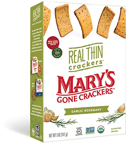 Mary's Gone Crackers Real Thin Crackers, Made with Real Organic Whole Ingredients, Gluten Free, Garlic Rosemary, 5 Ounce (Pack of 6)
