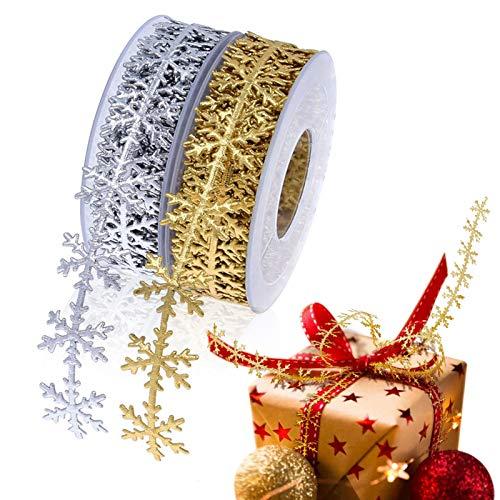 2Rolls Gold and Silver Nastri Natalizi con Fiocco di Neve ,Nastro Natalizio 2 Stile 10 Metri Christmas Ribbon con Colore Diverso per Decorazione Natale Cucito DIY Poliestere 2.5 cm in Larghezza