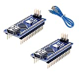 QooTec Nano V3.0, ATmega328P Microcontroller Board, Nano Board CH340 for Arduino Set of 2 with 1 USB Cable
