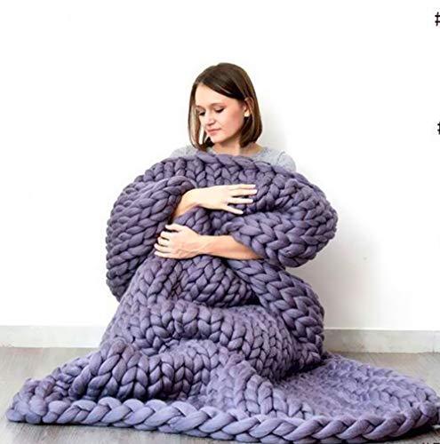 TONINI Chunky Knit Coperta ingombranti Gettare Lana Merino Hand Made Letto Divano Gettare Animali Poltrona Letto Mat Tappeto, (Color : Purple, Size : 24'×32')