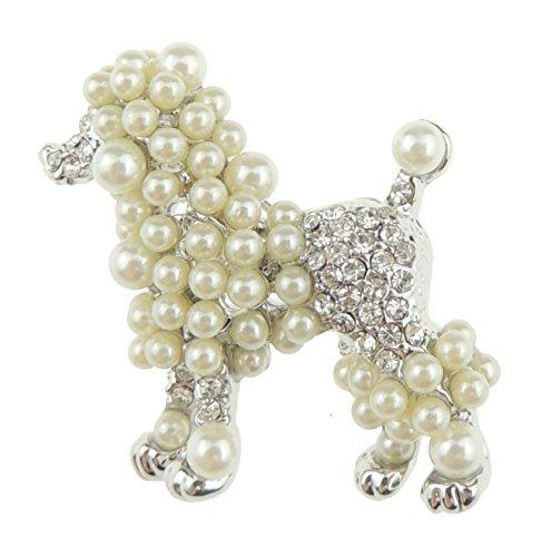 Broche de perlas de imitación muy bonito para novia o boda, diseño de perro con capucha, grande