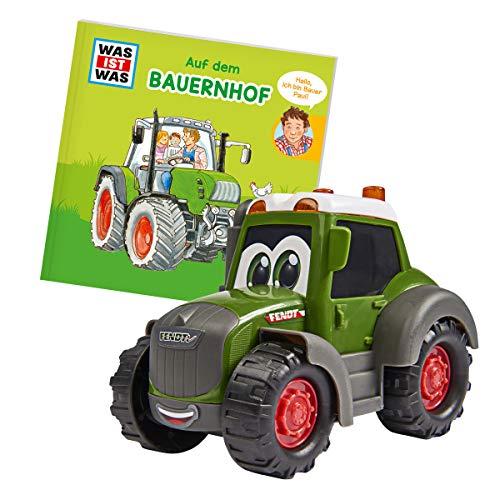 Dickie Toys Qué es la Granja Was, Tractor Fendt con Rueda Libre, Incluye lo Que es un Libro, no destiñe y Resistente a la Saliva, Juguete a Partir de 1 año, Juguete de Granja, 14,5 cm, Color Verde.