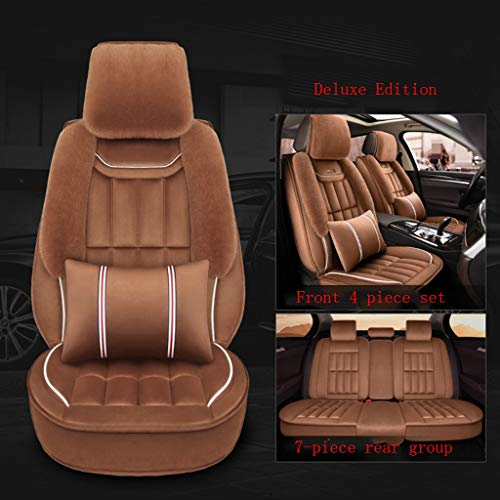 SSRS Land Rover Land Rover Range Rover Deluxe Edition Winter Antifreeze Plush All-inclusive Car Seat Cover Car Cushion (Color : Brown)