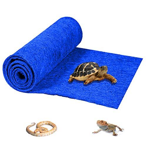 HERCOCCI Reptile Carpet, Blue - Terrarium Mat Liner Bedding Reptile Tank Substrate Supplies for Bearded Dragon Lizard Tortoise Leopard Gecko Snake 39'' x 20''