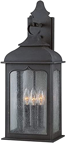 popular Troy Lighting B2012CI Henry online Street - Three Light Outdoor Wall Lantren, Colonial Iron Finish with wholesale Clear Seeded Glass online sale
