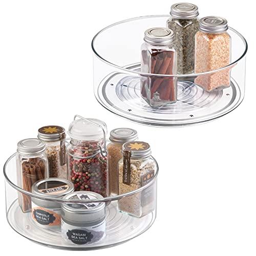 mDesign Juego de 2 soportes para especias – Práctico estante para utensilios de cocina – Plato giratorio de plástico para armarios de cocina – transparente