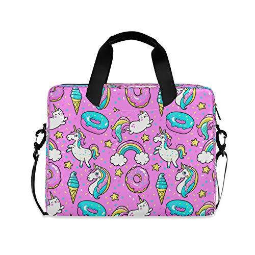 Yulife Unicorns Donuts Rainbow Laptop Bag Sleeve Case for Women Men Briefcase Tablet Messenger Shoulder Bag with Strap Notebook Computer Case 14 15.6 16 Inch for Kids Girls Business