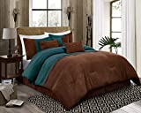 Chandler 7-Piece Western Lodge Pleated Stripe Micro Suede Bedding Comforter Set (Queen, Teal/Brown)