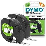 DYMO LT etiquetas de papel   Negro sobre blanco   12 mm x 4m Roll   para las etiquetadoras LetraTag   autoadhesivo   2unidades