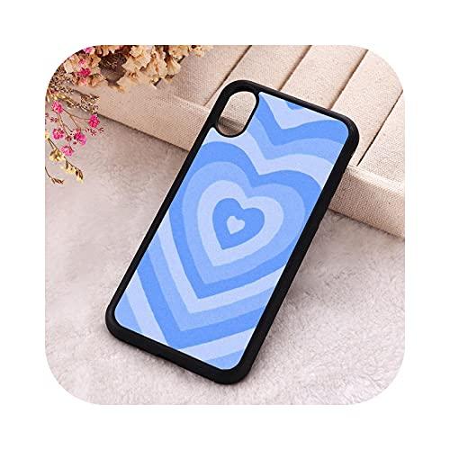P.X.M.E. 5 5S SE Funda de teléfono para iPhone 6 6S 7 8 Plus X Xs XR 11 12 Mini Pro Max goma silicona estética azul Latte Heart-Para iPhone 8 Plus