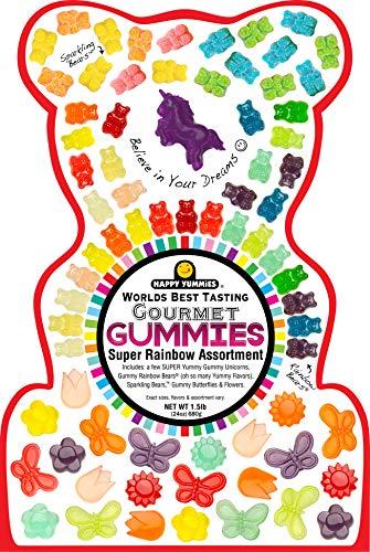 Happy Yummies Worlds Best Tasting Gourmet Gummies Super Rainbow Assortment 1.5lb