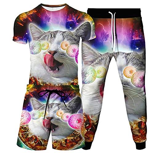 URVIP Herren Strandshorts T-Shirt 3-Teiliges Set 3D Katze Gedruckt Lustiges Kurzarm Sommer Beiläufige T-Shirt Tops Tees Badeshort Sporthose Sportswear Multi-34 3XL