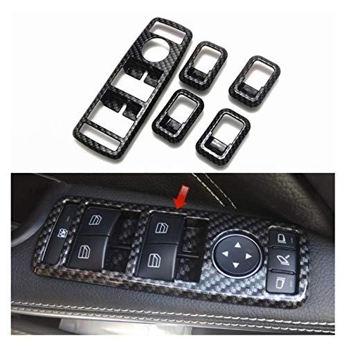 Blossion Interruptor 5pcs Ventana de la Tapa Interior de la Fibra de Carbono Estilo for Mercedes Benz C117 W166 W176 W204 W212 W218 W246 W463 X156 X166 X204