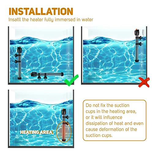 Orlushy Submersible Aquarium Heater with 2 Suction Cups, 300W