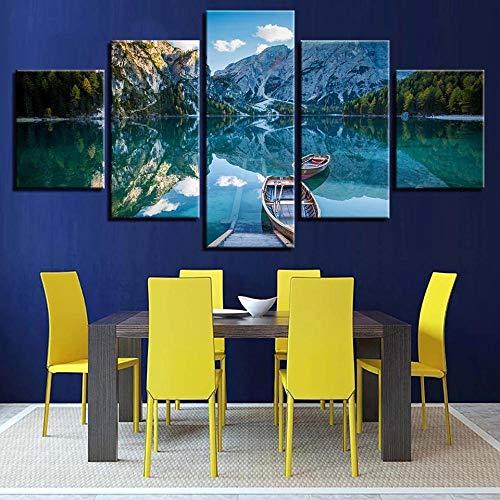 QQWER Modular HD Cuadro sobre Lienzo 5 Piezas Moderno Salón Decoraciónsnow Montaña Barco Lago Árbolesimpreso Sin Marco Pared Art Poster Pintura150×80Cm