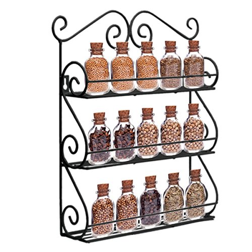 Dazone® Gewürzregal Scroll Spice Dekorative Wand befestigter 3 Tier Wandbehang Kitchen Spice Rack (Schwarz)