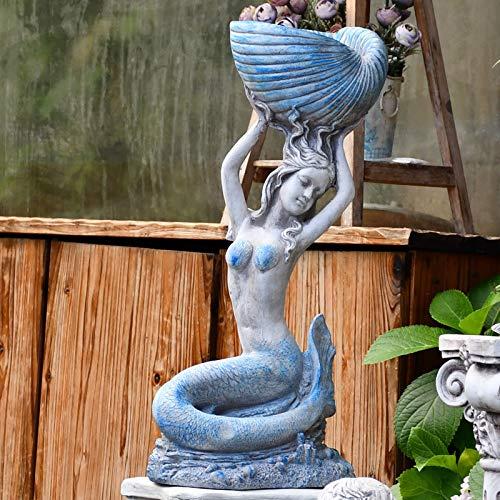 zenggp Meerjungfrau Garten Statue Outdoor Dekoration Nautischen Ozean Dekor Patio Hof Rasen Statue,C+58CM