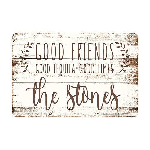 Monsety goede vrienden, goede tequila, goede tijden rustieke houten look gepersonaliseerd metalen bord post grappige muur kunst decoratie Tin teken 25 x 35cm