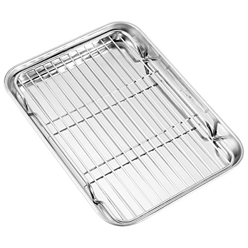 """Baking Sheet with Rack Set (1 Sheet + 1 Rack), Zacfton Stainless Steel Cookie Sheet with Cooling Rack, Baking Pan Tray with Wire Rack (9"""" x 7"""" x 1""""), Healthy & Non Stick & Dishwasher Safe"""