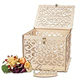 Wedding Card Box with DIY Color, Rustic Card Box with Lock, Key, and Lid, Large Capacity, Perfect for Wedding Reception and Wedding Anniversary(Loop)
