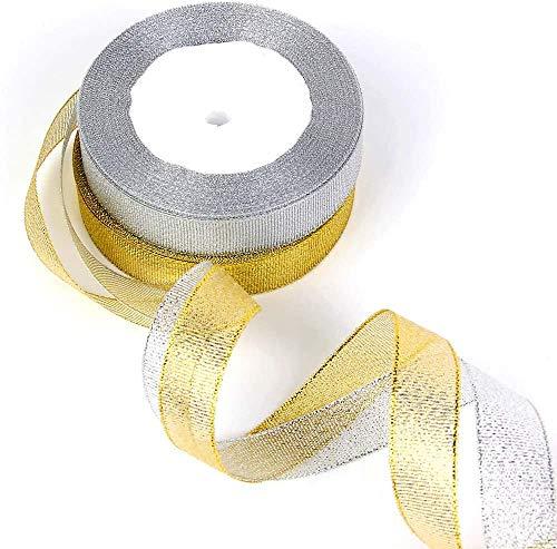 Organza Ribbon,Cinta de Organza 2 Pack Metalico Brillo Cinta de Tela 22...