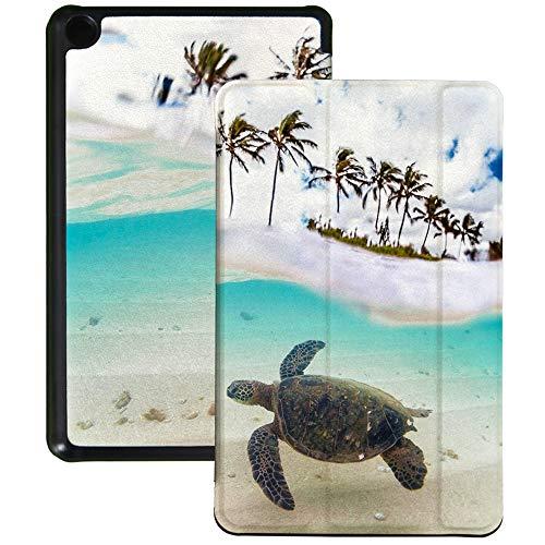 QIYI Funda para Kindle Fire 7 Tablet 9ª Generación Infantil Funda delgada ligera plegable con múltiples ángulos de visión Smart Case con función de encendido y apagado automático, tortuga en el mar