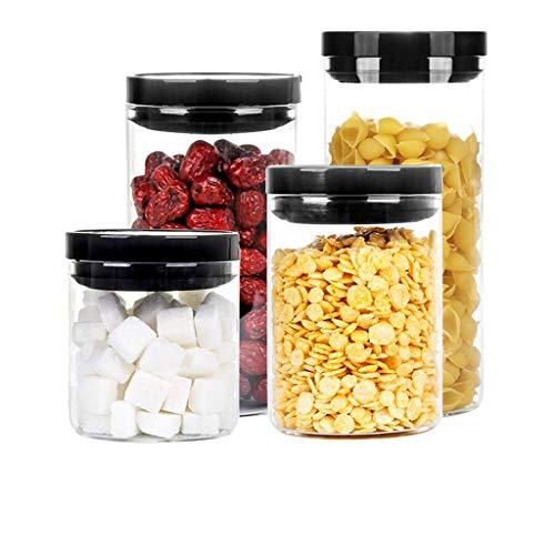 Grands récipients d'entreposage des aliments hermétiques Garde-manger Emballages durables en récipients de stockage de céréales sans récipients sans BPA avec couvercles noirs (taille : 4 piece set)