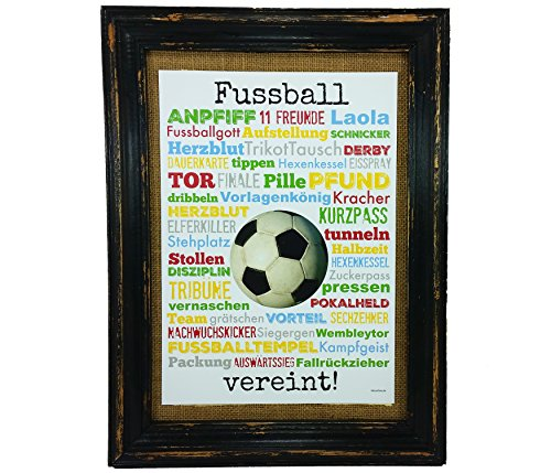 Fussball vereint! Druck Poster A4 Geschenk AnneSvea Typo Deko Fußball Soccer Verein Spiel Turnier Sieg Derby Trikot Pokal