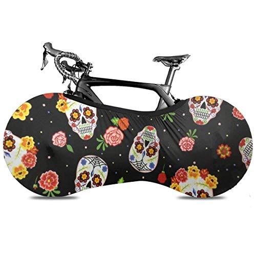 Sweet Treats Cupcake Housse de protection portable pour vélo d'intérieur anti-poussière haute élasticité Taille unique The Darkness Sugar Skulls & Roses.