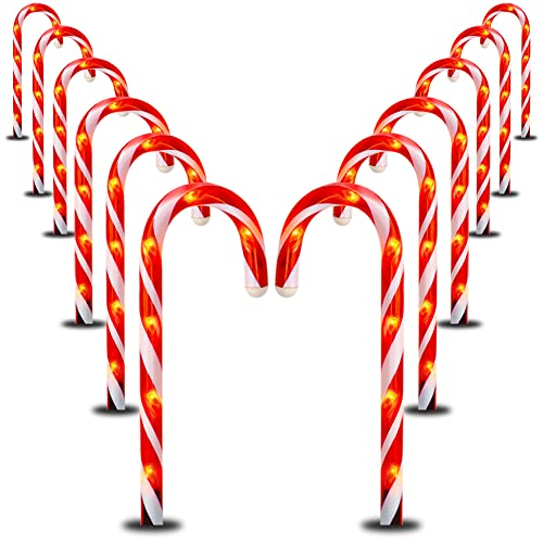 Dazzle Bright 12 Pack 16' Christmas Candy Cane Pathway Markers, Xmas Pathway Lights Outdoor with 72 Warm White Lights for Walkway Garden Lawn Holiday Decorations