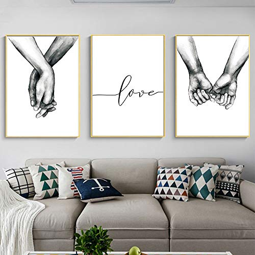 Kiddale Love and Hand in Hand Wall Art Canvas Print Poster,Simple Fashion Black and White Sketch Art...