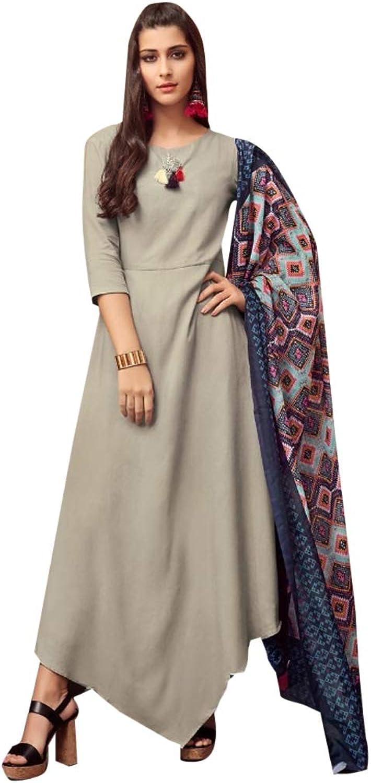 Indian Designer Silk Kurti with Printed Dupatta for Women Formal Kurta Festive wear 7519