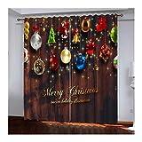 Daesar Cortinas Dormitorio Opacas Multicolor Cortina Salon Poliester Bolas de Decoración Navideña Merry Christmas and Happy New Year 214x244CM