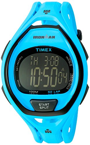Timex Unisex TW5M01900 Ironman Sleek 50 Neon Blue Resin Strap Watch