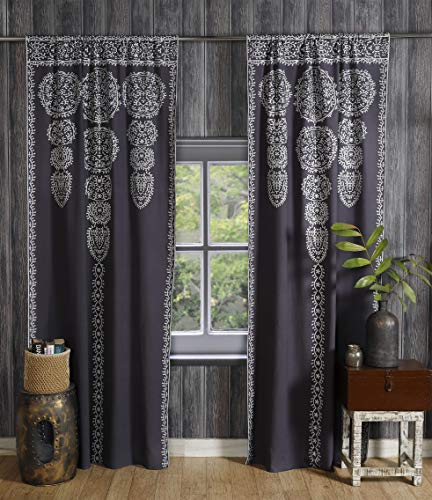 Labhanshi Gray Moroccan Medallion Floral Ombre Mandala Window Curtains Tapestry Indian Drape Balcony Room Decor Divider Sheer Wall Hanging 82x41 Inch