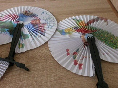 Schnooridoo 12 Stück China Klappfächer, Papierfächer, Karneval, Fasching, Oper, Konzert