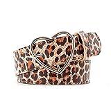 Cinturón Cinturón con Estampado De Leopardo De Moda Cuero De PU Corazón Redondo Hebilla Cuadrada Correa para La Cintura Jeans Vestido Mujer Retro CINT