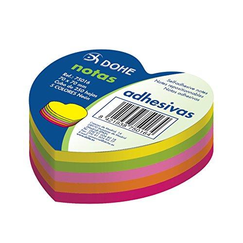 """Dohe 75016 - Pack de 250 cubos de notas adhesivas en forma de""""corazón"""", 70 x 70 mm"""