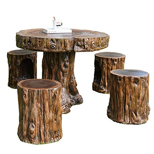 DNNAL Patio Porch Furniture Sets, Coffee Table Table and Chair Set Park Open-Air Courtyard Balcony Garden Leisure Imitation Wood Root Carving Round Table