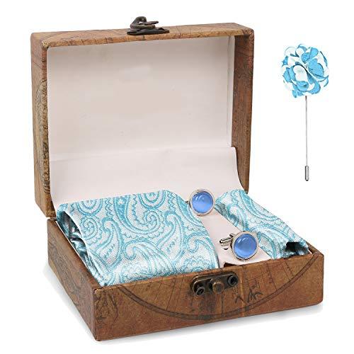 Blacksmith Sea Blue Paisley Tie , Cufflink , Pocket Square , Lapel Pin , Set of 4 for Men [ Free Size ] Sea Blue Paisley