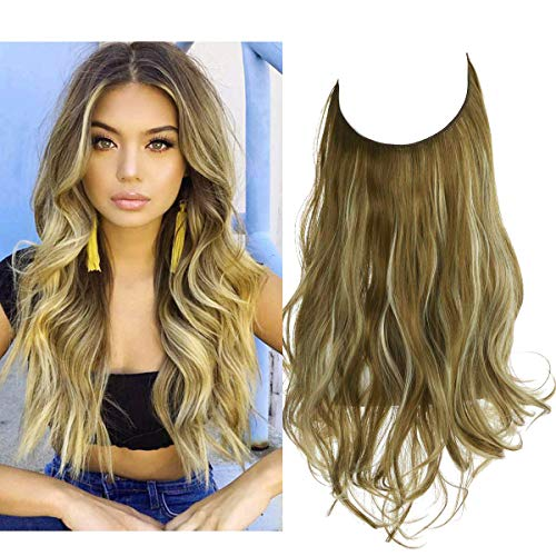 Brown Blonde Synthetic Hair Extension in Natural Beach Wave