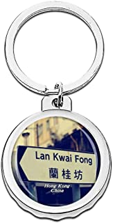 Hqiyaols Keychain China LAN Kwai Fong Hong Kong Bottle Opener Creative Crystal Stainless Steel Cap Key Chain Travel Souvenirs Gifts Metal