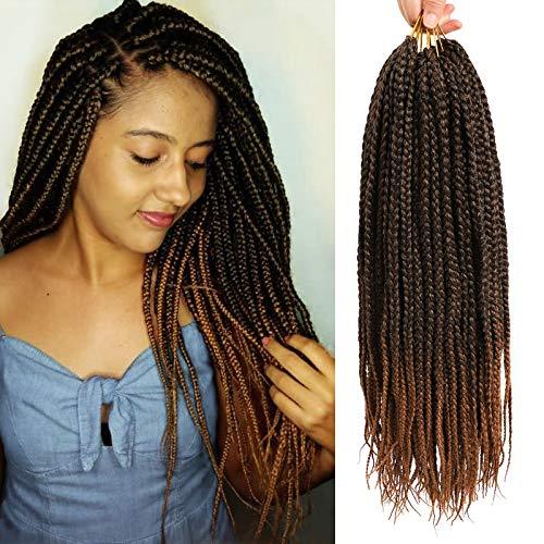 6 Packs 18 Inch Box Braids Crochet Hair Extensions Synthetic Hair Crochet Braids Jumpo Braiding Hair 24 Strands/pack (18 Inch, T1B/30)